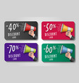 discount cards with loudspeaker in man hand and vector image vector image