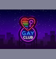 gay club neon sign logo in neon style light vector image