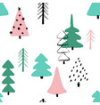 grunge winter forest seamless pattern vector image vector image
