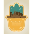 hamsa hand with Jerusalem skyline vector image vector image