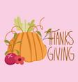 happy thanksgiving day pumpkin flower fruit text vector image vector image