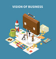 isometric business strategy composition vector image vector image