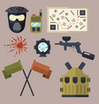 paintball club symbols icons protection uniform vector image vector image