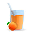 peach smoothie glass icon cartoon style vector image