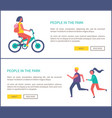 people in park woman rides bike and couple jogging vector image vector image