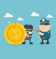 police man in the black uniform caught vector image