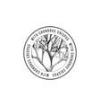 round emblem with hand drawn chondrus crispus vector image vector image