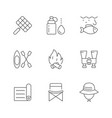 set line icons camping vector image