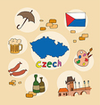 set of national profile of the czech vector image vector image