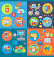 social media square concepts set online mobile vector image