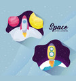 startup rockets with moon and planets vector image