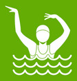 swimmer in a swimming pool icon green vector image vector image