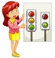 Teacher explaining traffic signals vector image vector image