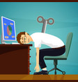 tired worker sits at the workplace vector image