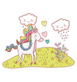 unicorn fantastic cartoon vector image vector image