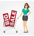 woman pushing a shopping cart with sale banners vector image