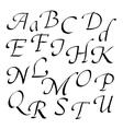 Hand-written font in black ink italic vector image