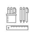 set of pens pencils ruler and marker in holder vector image