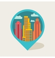 Cityscape navigation marker with buildings vector image