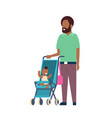 african father beard with baby son in stroller vector image vector image