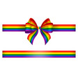 bow and ribbon with rainbow colors vector image vector image