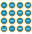 bridge set icons blue circle set vector image vector image