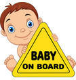 cartoon baholding on board yellow safety sign vector image vector image
