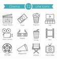 Cinema Line Icons vector image vector image