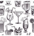 cocktail seamless pattern hand drawn cocktails vector image vector image