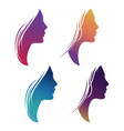colorful female silhouette set isolated on white vector image vector image
