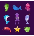 Colourful Sea Creatures Set vector image vector image