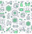 coronavirus green seamless pattern vector image