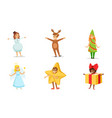 cute kids wearing christmas costumes set boys and vector image vector image