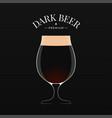 dark beer logo glass beer on black background vector image vector image