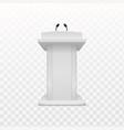 debate speaker podium realistic white tribune vector image vector image