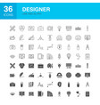 designer line web glyph icons vector image vector image