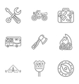 Encampment icons set outline style vector image vector image