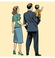 family dad mom son baboy back vector image vector image