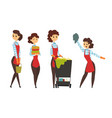 female worker cleaning service in apron with vector image vector image