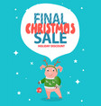 final christmas sale holiday discount pig in green vector image vector image