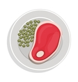 food plate with steak green peas vector image