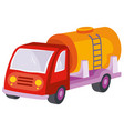 fuel truck cartoon isolated object on white vector image vector image