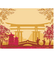 Geisha silhouette at sunset vector image vector image