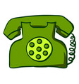 green retro telephone on white background vector image