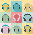 headphones music speakers icons set flat style vector image