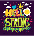 hello spring hand drawn lettering vector image