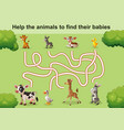 help the animals to find theirs babies vector image