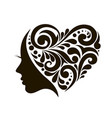 icon young woman with heart patterns vector image vector image