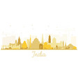 india city skyline silhouette with golden vector image vector image