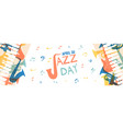 jazz day banner of music band instruments vector image